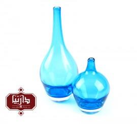 گلدان شیشه ای کوچک گالری آبین طرح سالونگ آبی شفاف مجموعه دو عددی
