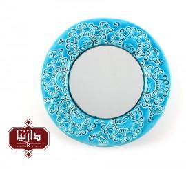 قاب آینه سرامیکی آبی گالری میشو طرح خورشید