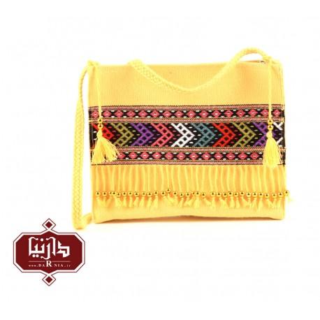 کیف گلیم دستبافت طرح سنتی رنگ زرد