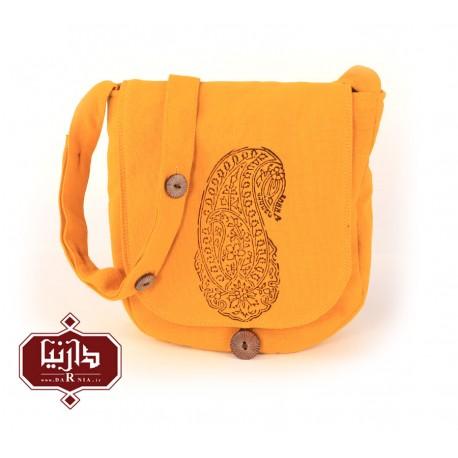 کیف الیاف طبیعی چاپ قلمکار طرح اشک رنگ زرد
