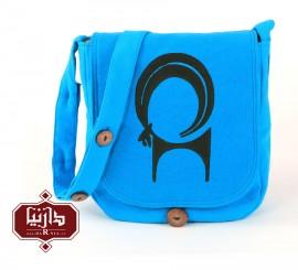 کیف الیاف طبیعی چاپ قلمکار طرح قوچ رنگ آبی