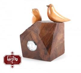 ساعت چوبی گالری سکوت طرح دو پرنده 1