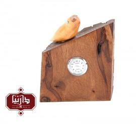 ساعت چوبی گالری سکوت طرح تک پرنده 2