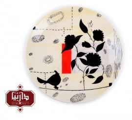بشقاب سرامیکی نقاشی دستی زیر لعابی برند ژین طرح 2