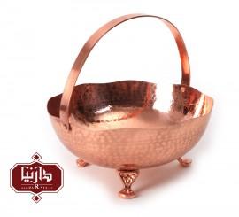 کاسه پایه دار مسي زنجان اثر محمدی طرح سبد