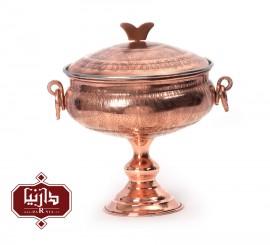 کاسه پایه دار در دار مسي زنجان اثر محمدی طرح 1 سایز متوسط