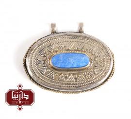 آویز سنتی طرح بیضی رنگ آبی