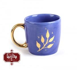 لیوان سرامیکی نقاشی دستی با لعاب طلا برند پاپوک طرح خزان