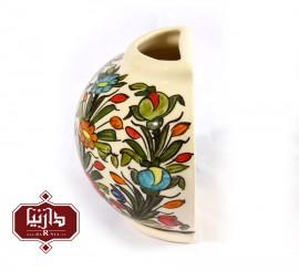 گلدان سرامیکی دیوارکوب طرح گل و مرغ