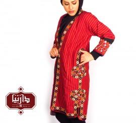 تن پوش ترکمن قرمز طرح1