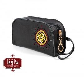 کیف چرم طبیعی مشکی با سوزندوزی ترکمن