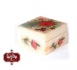 جعبه سنگ مرمر اثر بابايي طرح گل ومرغ سايز 10 × 10 سانتي متر طرح 2