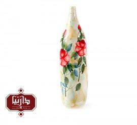 گلدان سرامیکی استوانه ای گالری ناب طرح گل سرخ