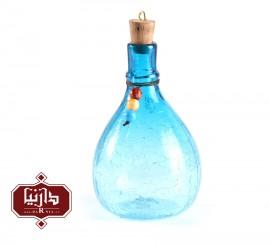 بطری شیشه ای کوچک گالری آبین طرح 1 آبگز رنگ آبی